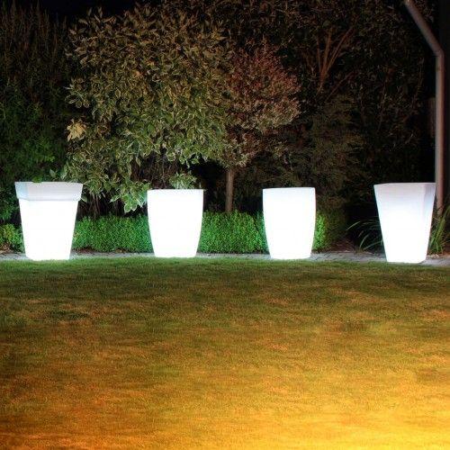 Moderne Aussenleuchten deko blumen topf leuchte aussen ø300mm modern weiß kunststoff