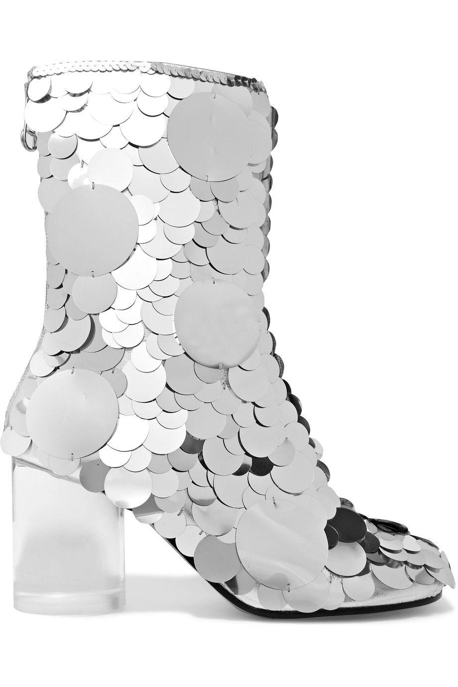 Silver Paillette-embellished textured