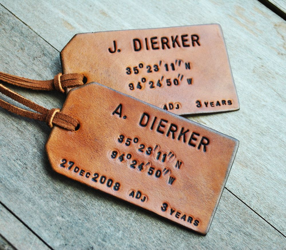 set of 2 map coordinates leather luggage tags latitude and