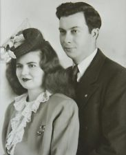 1940's Portrait Photograph Couple Nicely Dressed Hat and Jewelry Chicago Studio