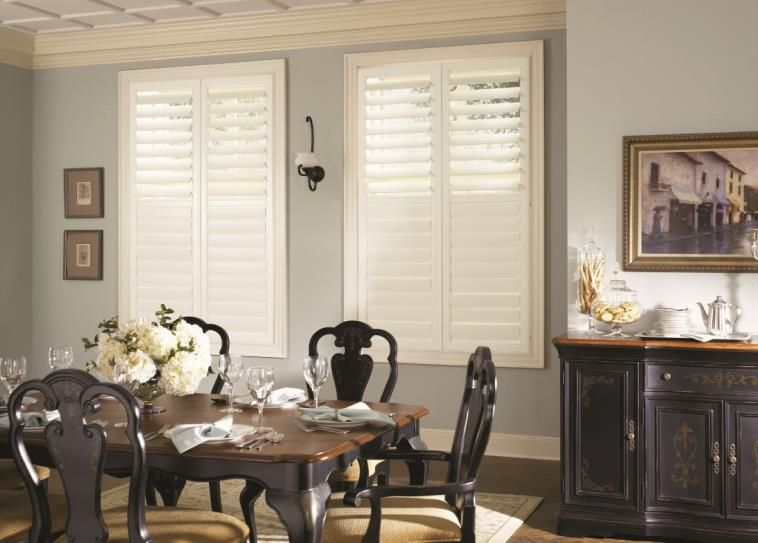 Classic White Plantation Shutters Adds A Beautiful Touch