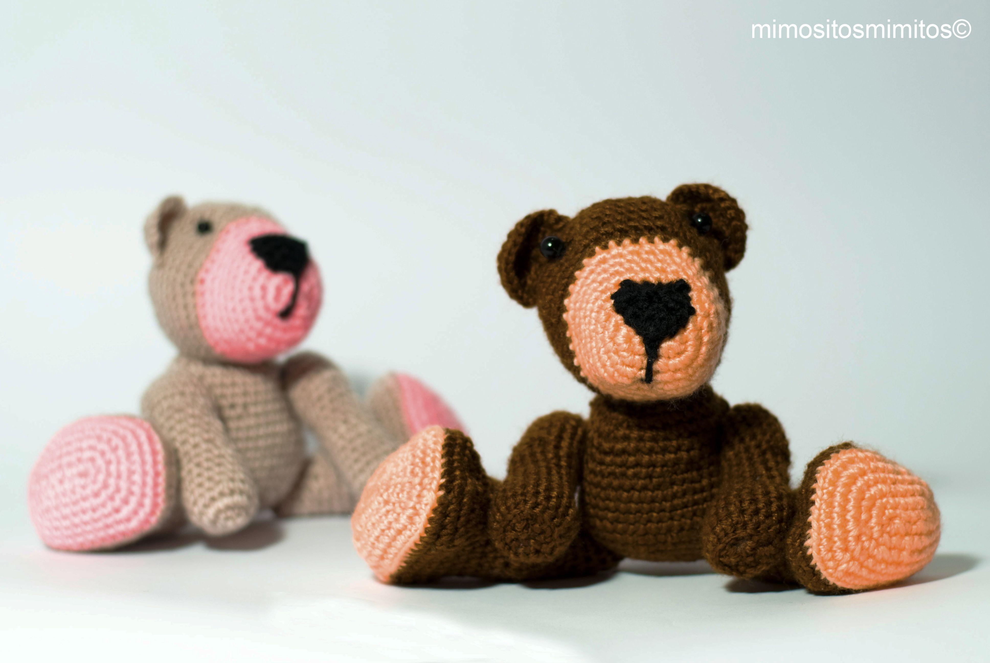Toys images with names  oso osito amigurumi lana ganchillo crochet marrón rosa bear ugly