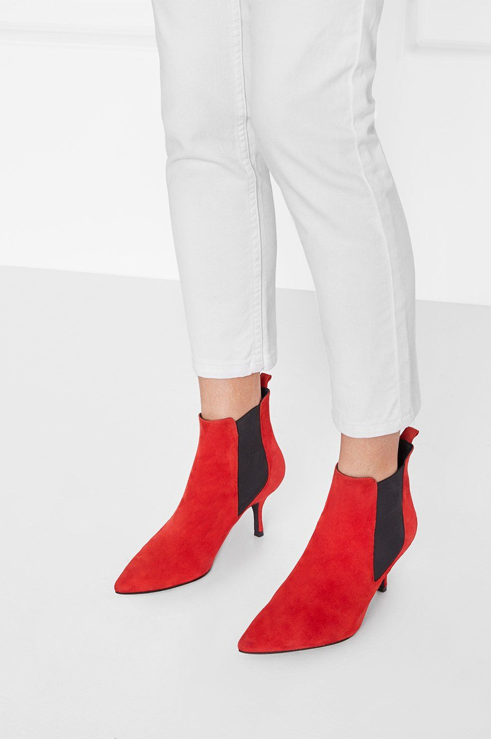 Welcome Red Suede Stevie To The Family This Pair S Soft Finish And Understated Red Hue Is The Chic Accent Your Kitten Heel Ankle Boots Boots Suede Ankle Boots