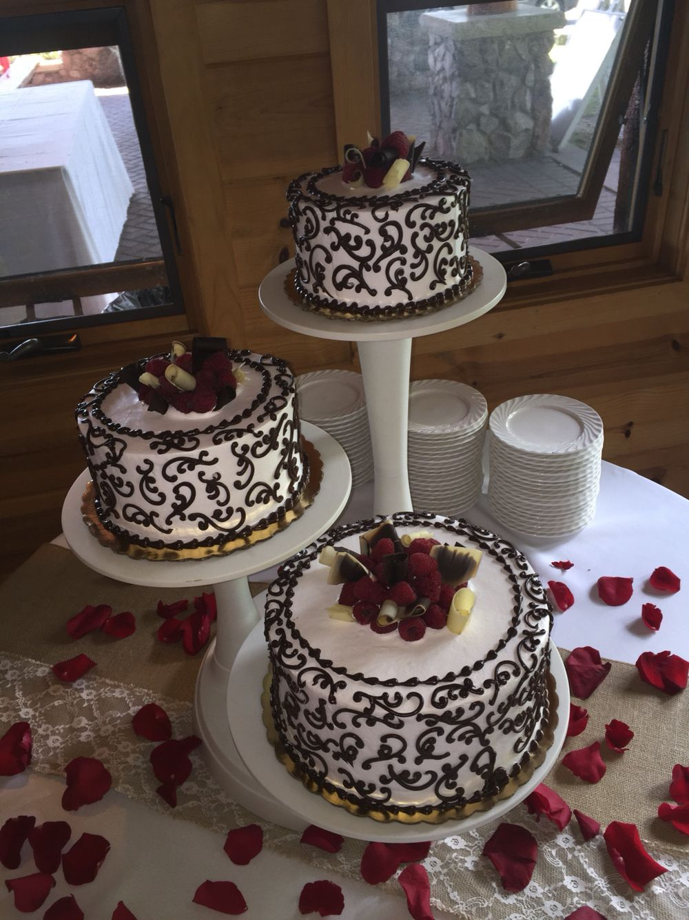 Our Signature Raspberry Bomb Cake Dressed Up For A Wedding