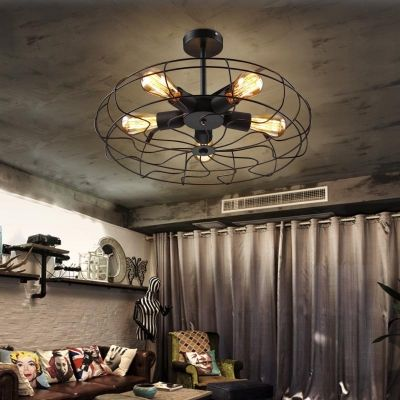 Novelty Loft Industry Wrought Iron Fan Led Close To Ceiling Light