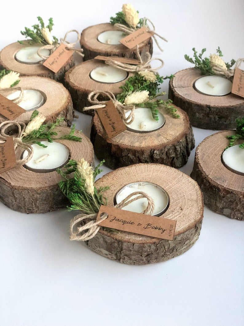 Wedding favors for guests, bulk gifts, rustic wedding favor, personalized favors, wood favors, tealight holder, unique gift, thank you gifts
