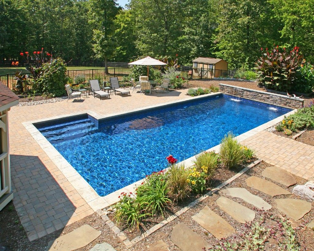 Inground pool inground pools i like the color on this for Pool landscaping ideas