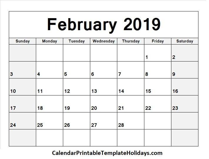 Pin by 2019Calendarprintabletemplate on February 2019 Calendar