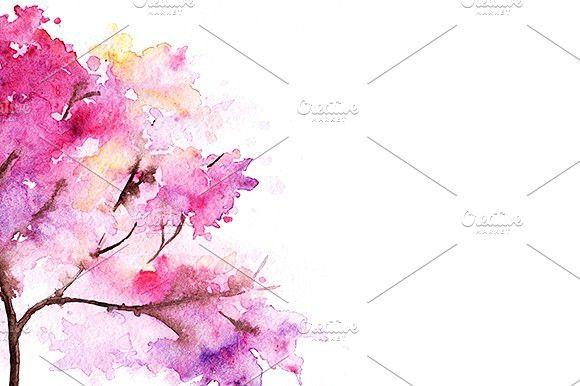 Watercolor Single Cherry Sakura Tree Flowers