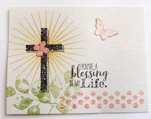 ABOVE: Stampin' Up! Convention 2014 swap card by Kathy Swanson featured product: Blessed by God stamp set, pg 123