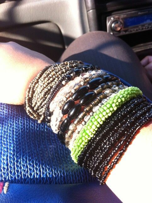 Popping neon with the blacks!  #neon #fashion #accessories #bangles
