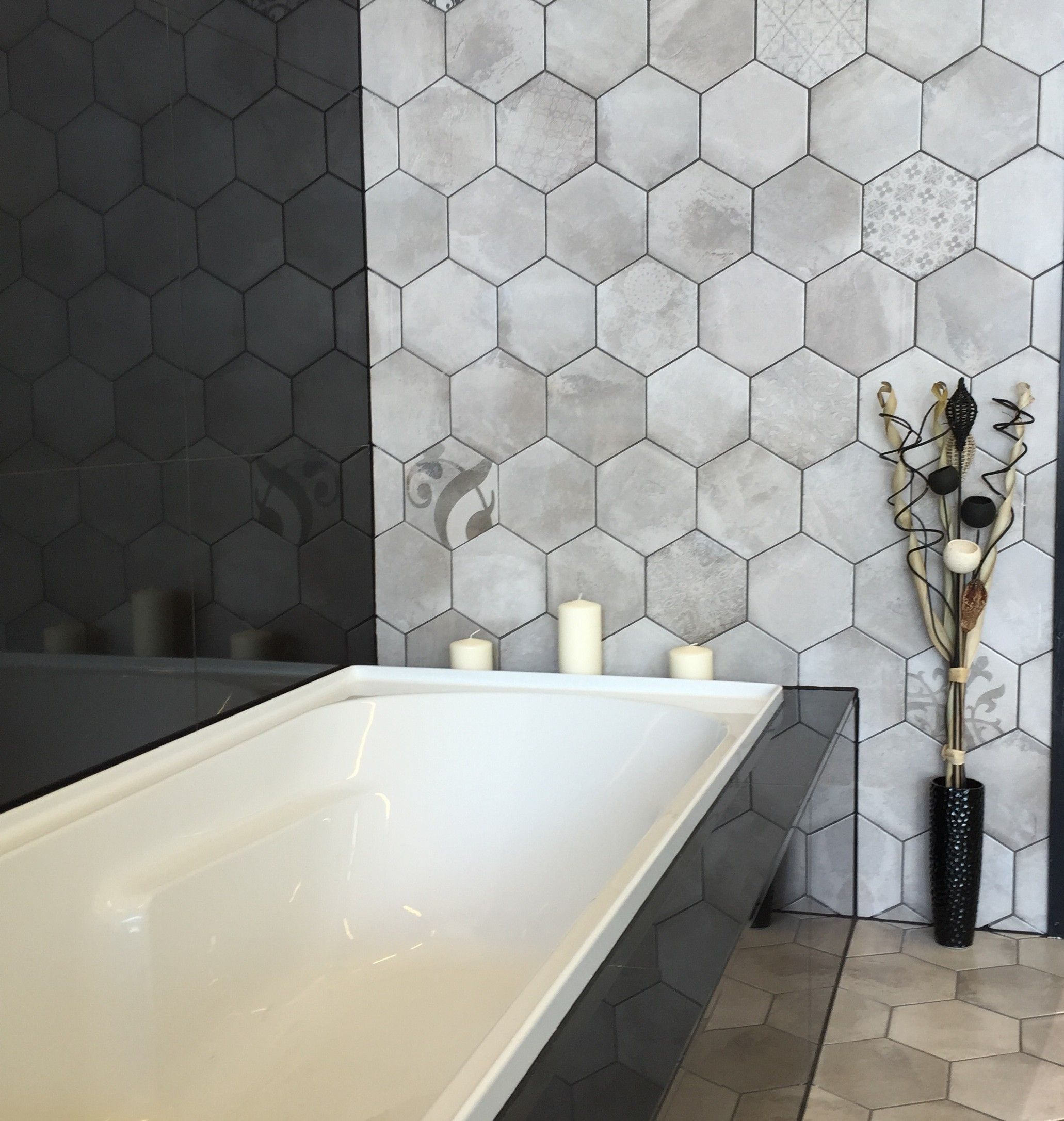 Domme Grey Hexagon 20x20 Sqm Floor Tiles Tiles Our Products Bathroom Wall Tile Bathroom Flooring Options Dark Green Bathrooms