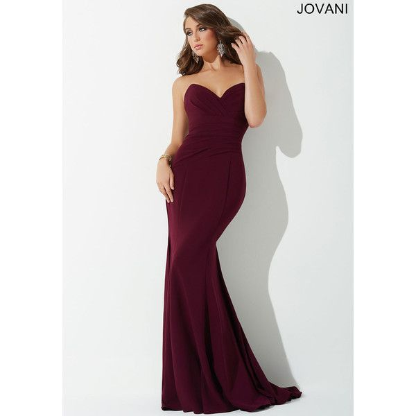 Plum Strapless Prom Dress 25631 Liked On Polyvore Featuring