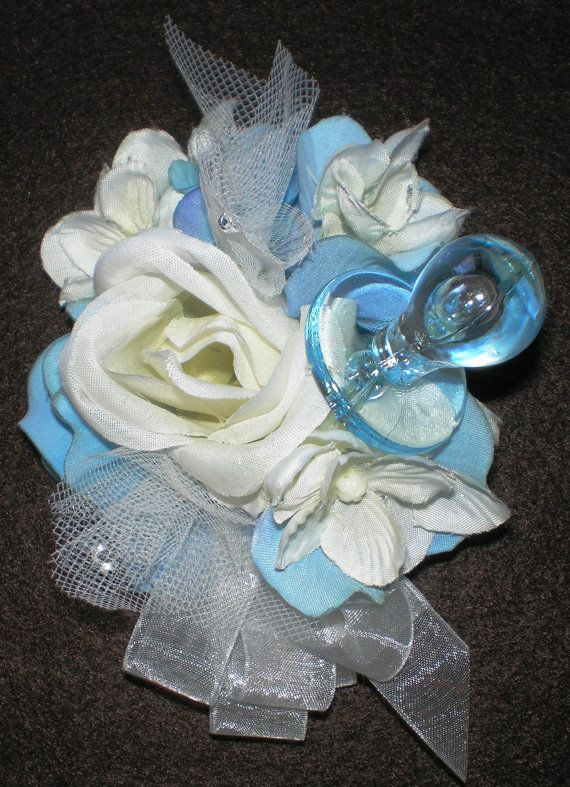 Baby Shower Corsages Baby Boy Satin Ribbon Rose Corsage Wrist