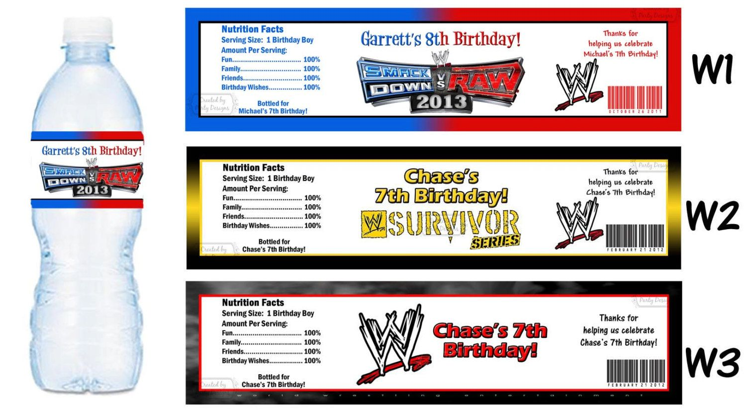 WWE Water Bottle Labels PRINTED for YOU by PartyDesigns4U, $3.75 ...