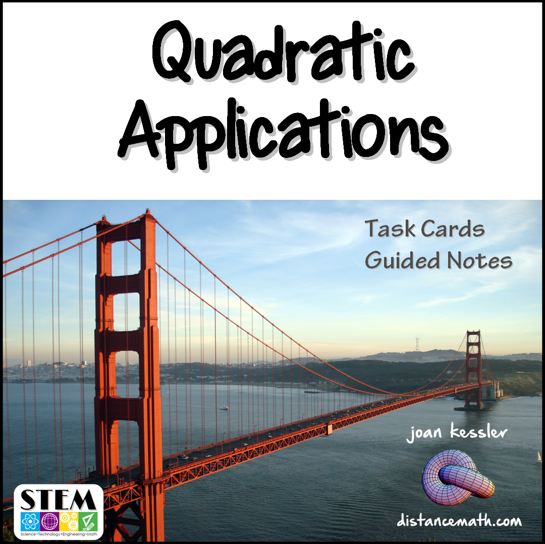 Quadratics Word Problems Task Cards Plus Guided Notes