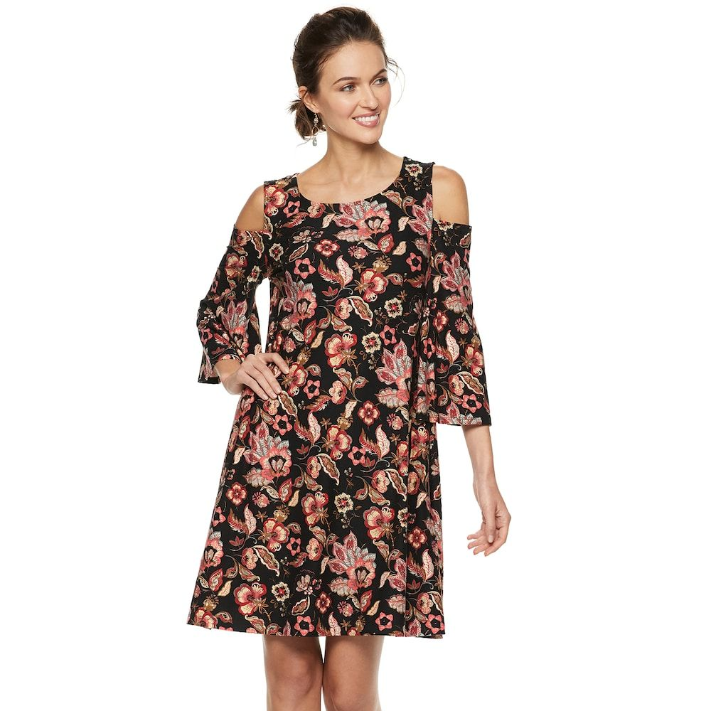 e4e46940a75 Women s Nina Leonard Flora Cold-Shoulder Trapeze Dress