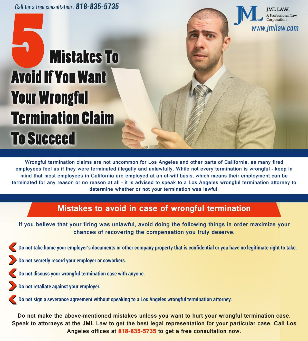 Wrongful Termination Attorney Los Angeles Illegally Fired Job Skills Employment Law Creative Infographics