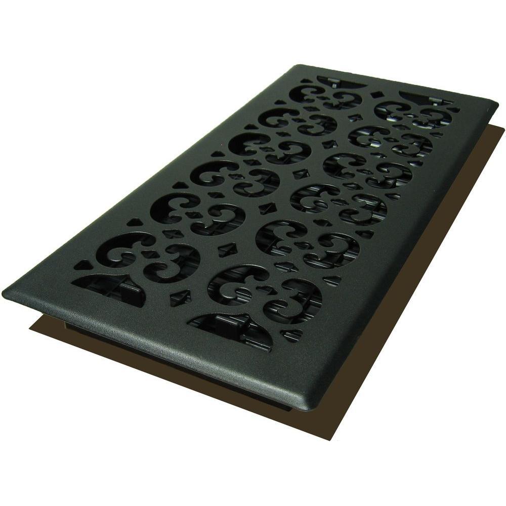 Decor Grates 6x14 Scroll Text Black Floor Register Black Floor Flooring Decor