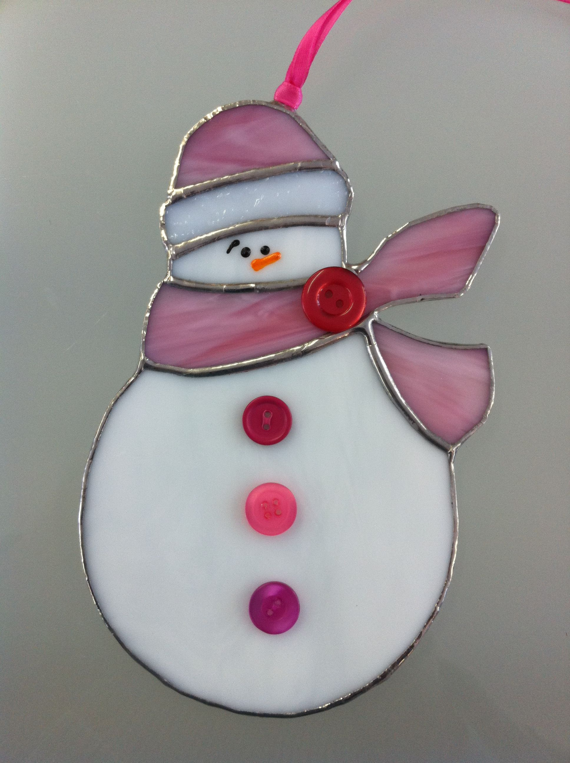 "Stained Glass 7"" Snowman Ornament"