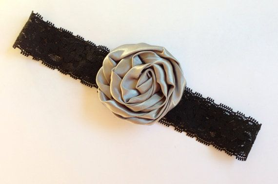 """Black Elastic Lace Headband with a 3.75"""" Silver Satin Flower  on Etsy, $7.25"""