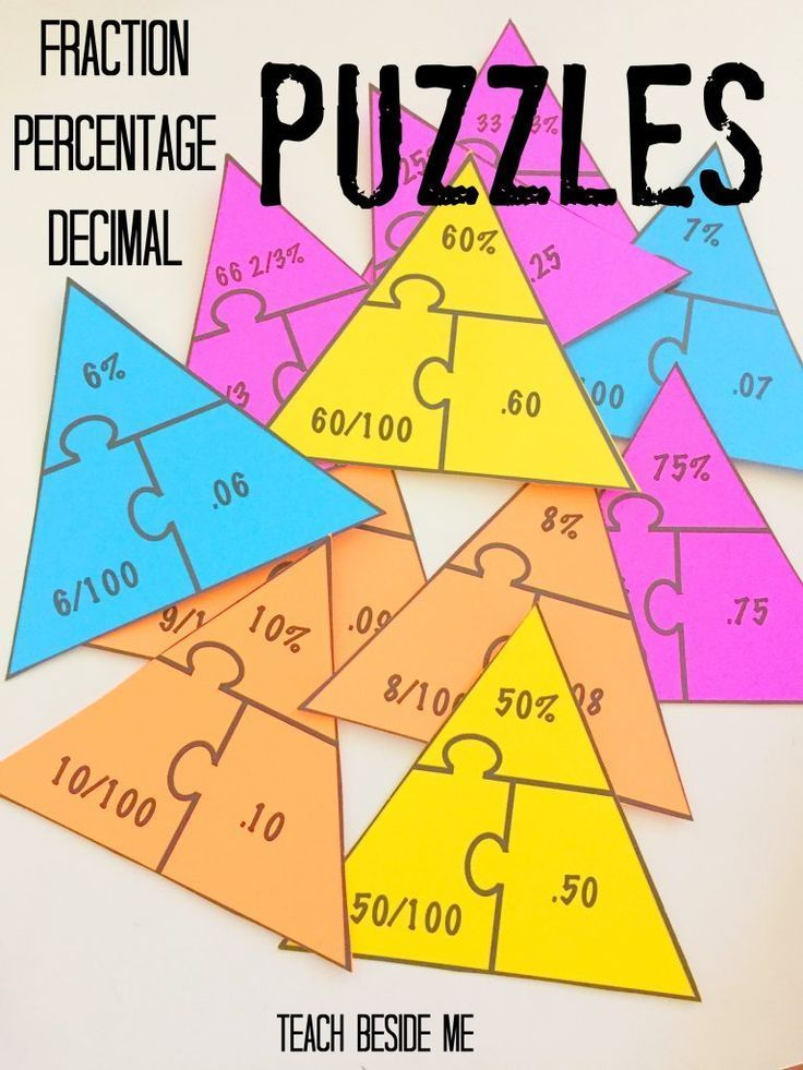 Fraction u2013 Percentage u2013 Decimal Math Puzzles Fun math games, Fun - decimal to fraction chart