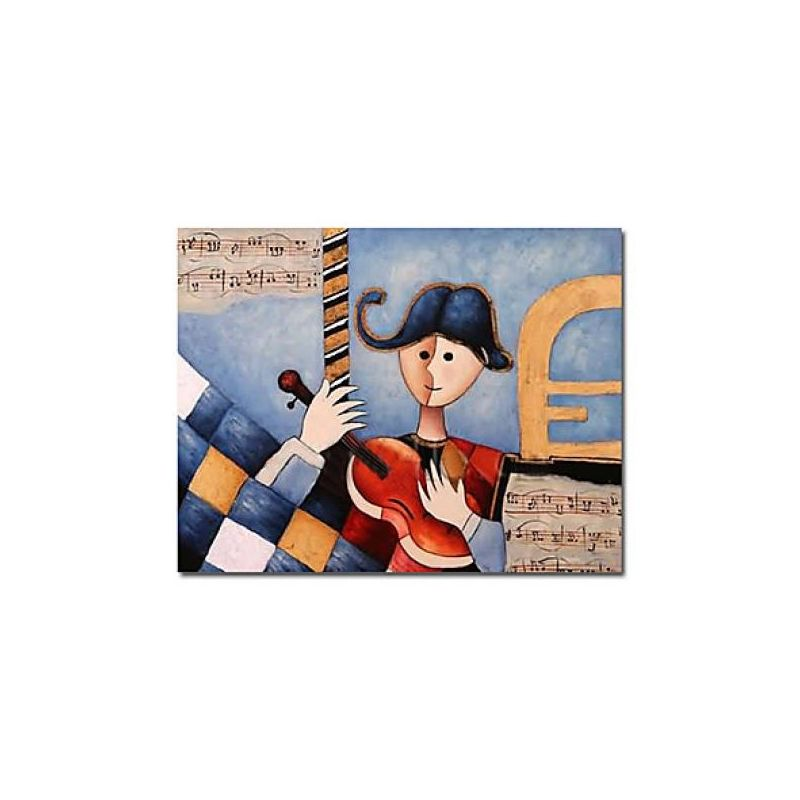 [$69.99] Music Themed Play Guitar Hand-painted Abstract Oil Painting with Stretched Frame - Free Shipping