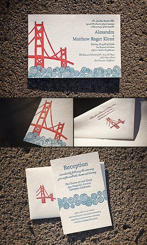 San Francisco Themed Letterpress Wedding Invitations