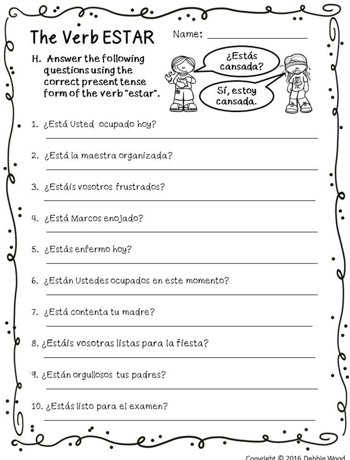 worksheet Tener Expressions Worksheet spanish subject pronouns posters and worksheets pronoun these on the irregular verb estar are a great visual teaching tool for beginning spanish