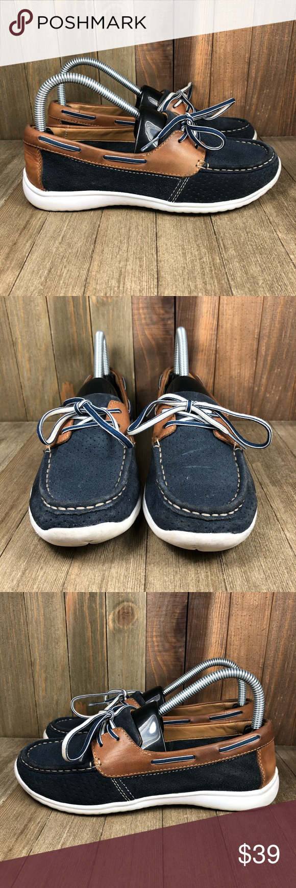 Clarks Arbor Opal Boat Shoes Womens Size 7.5 Gently used. Smoke free. No box. I always carefully package and ship immediately. Reach out with any questions!  Size: Womens 7.5  Color: Blue/Brown  (My inventory: C0502)  Pair in photos is the exact pair you are purchasing  Make sure to follow! I post a ton of shoes and offer bundle pricing. Clarks Shoes Flats & Loafers