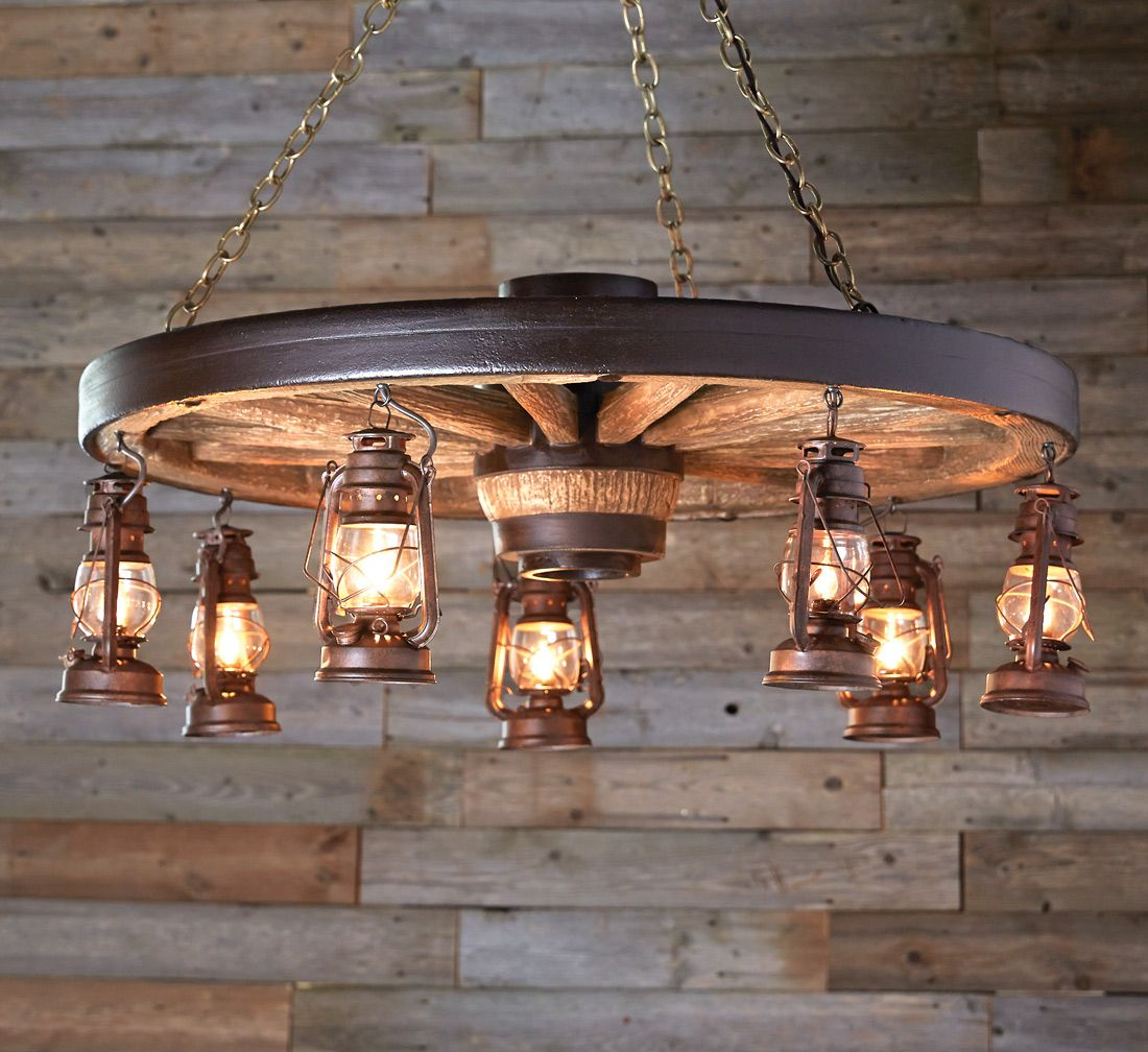 Large wagon wheel chandelier with rustic lanterns large wagon wheel chandelier with rustic lanterns aloadofball Gallery