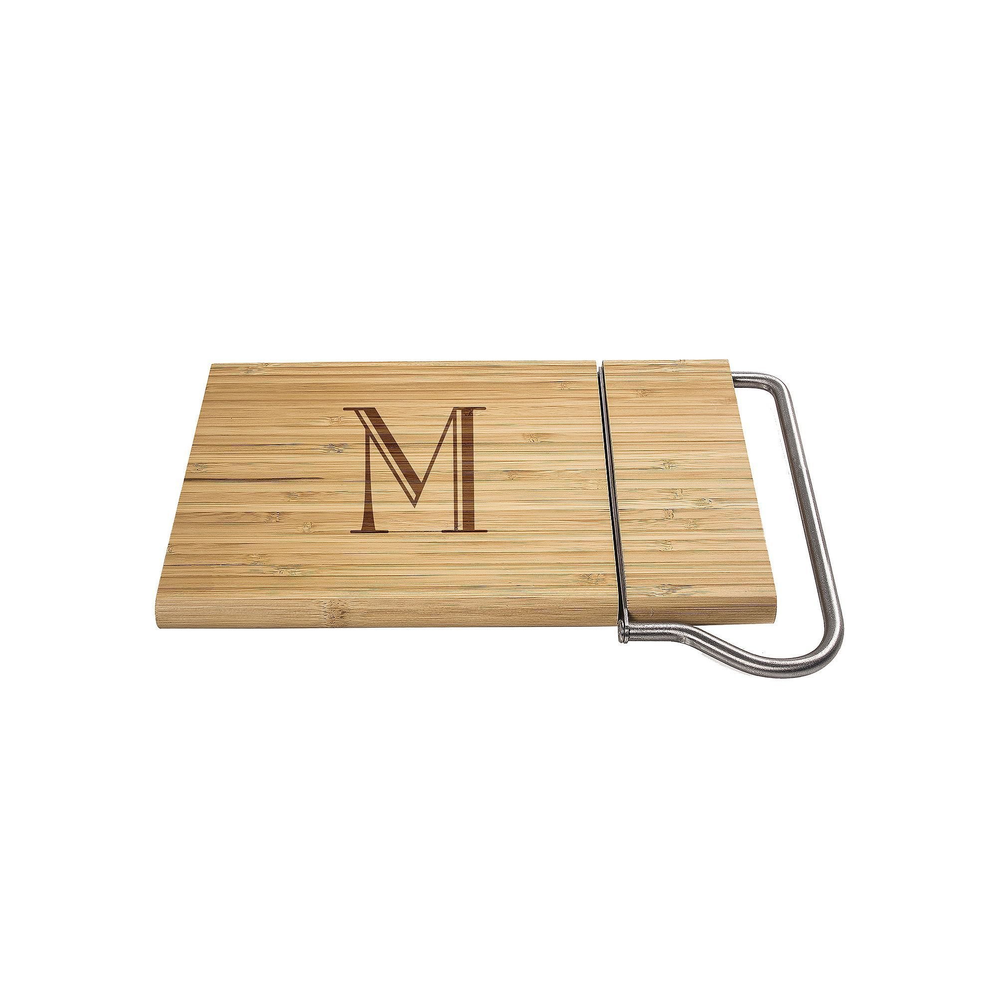 Cathy's Concepts Monogram Bamboo Cheese Slicer, Brown