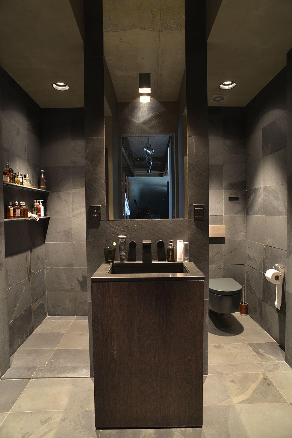 Masculine bathroom spaces and interiors - Elegant minimalist loft design in masculine vibe wooden decoration ...