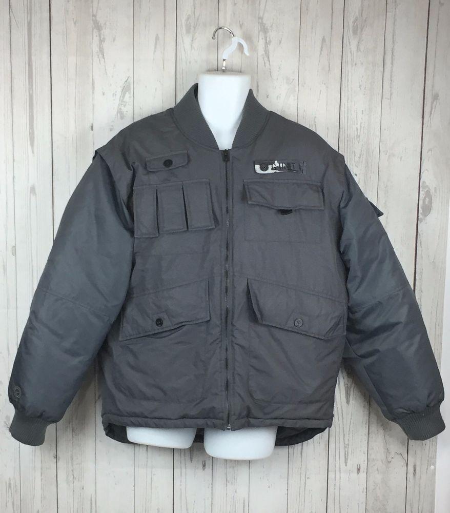 G Unit 50 Cent Jacket Coat Mens Sz M Charcoal Gray Puffer Down Full Zip Flight Gunit Puffer Winter Coats Jackets Jackets Men S Coats And Jackets [ 1000 x 878 Pixel ]