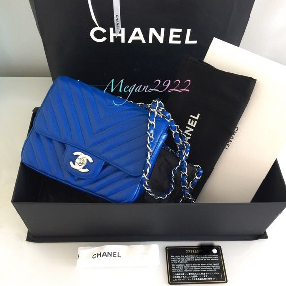7ee56d457d9c6c CHANEL blue mini square Chevron Caviar with SHW 100% Authentic Chanel blue  Chevron mini caviar with SHW Made in Italy It comes with authenticity card,  ...