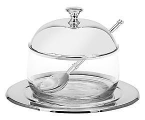 Set per marmellata in argento e vetro - 4 pz