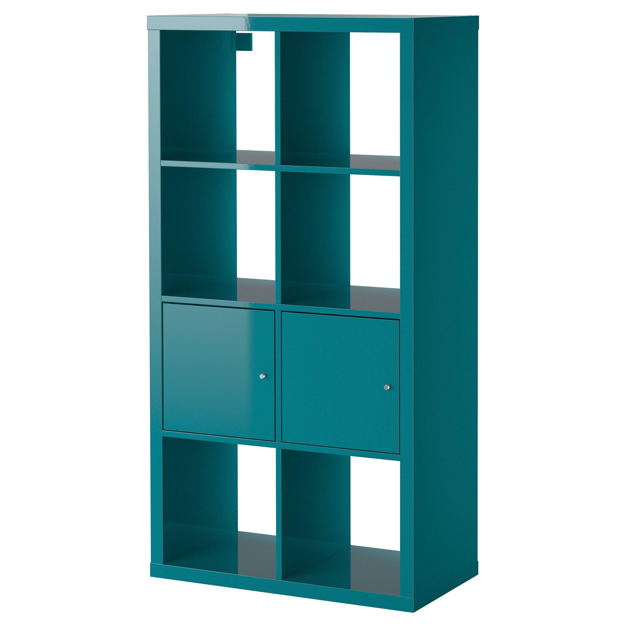KALLAX Shelving unit with doors - high gloss turquoise, 77x147 cm ...