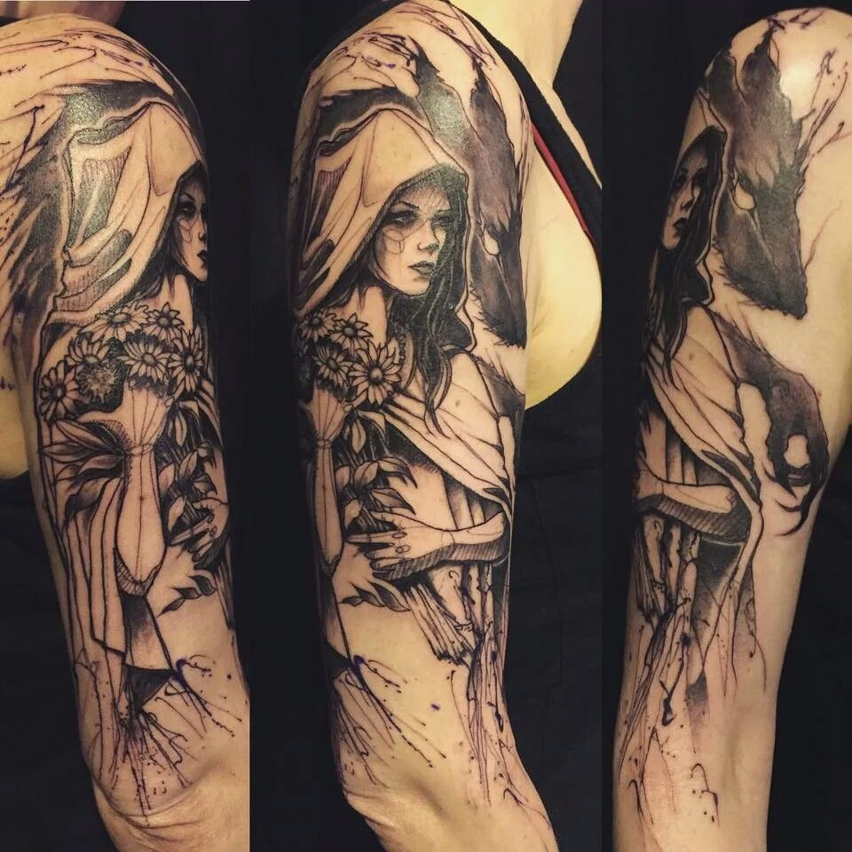 Tattoo Of Little Red Riding Hood And The Wolf
