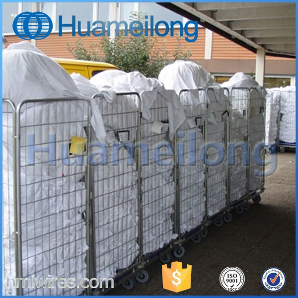 Warehouse Laundry Metal Mesh Storage Roll Cage With 4 Wheels