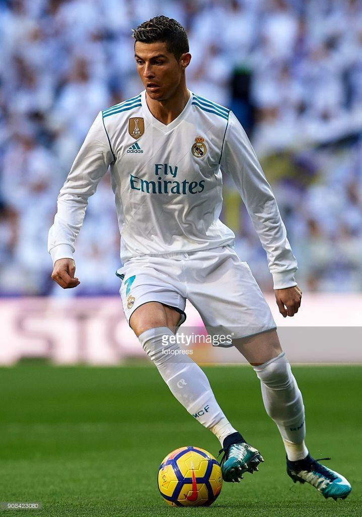 Cristiano Ronaldo of Real Madrid in action during the La Liga match between Real Madrid and Deportivo de La Coruna at Estadio Santiago Bernabeu on January 21, 2018 in Madrid, Spain.