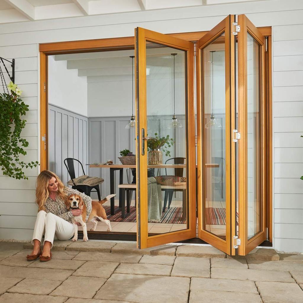 Jeldwen Kinsley Golden Oak 3 0 Folding Patio Doorset Clear Double Glazing Stained Patio Doors Folding Patio Doors French Doors Patio
