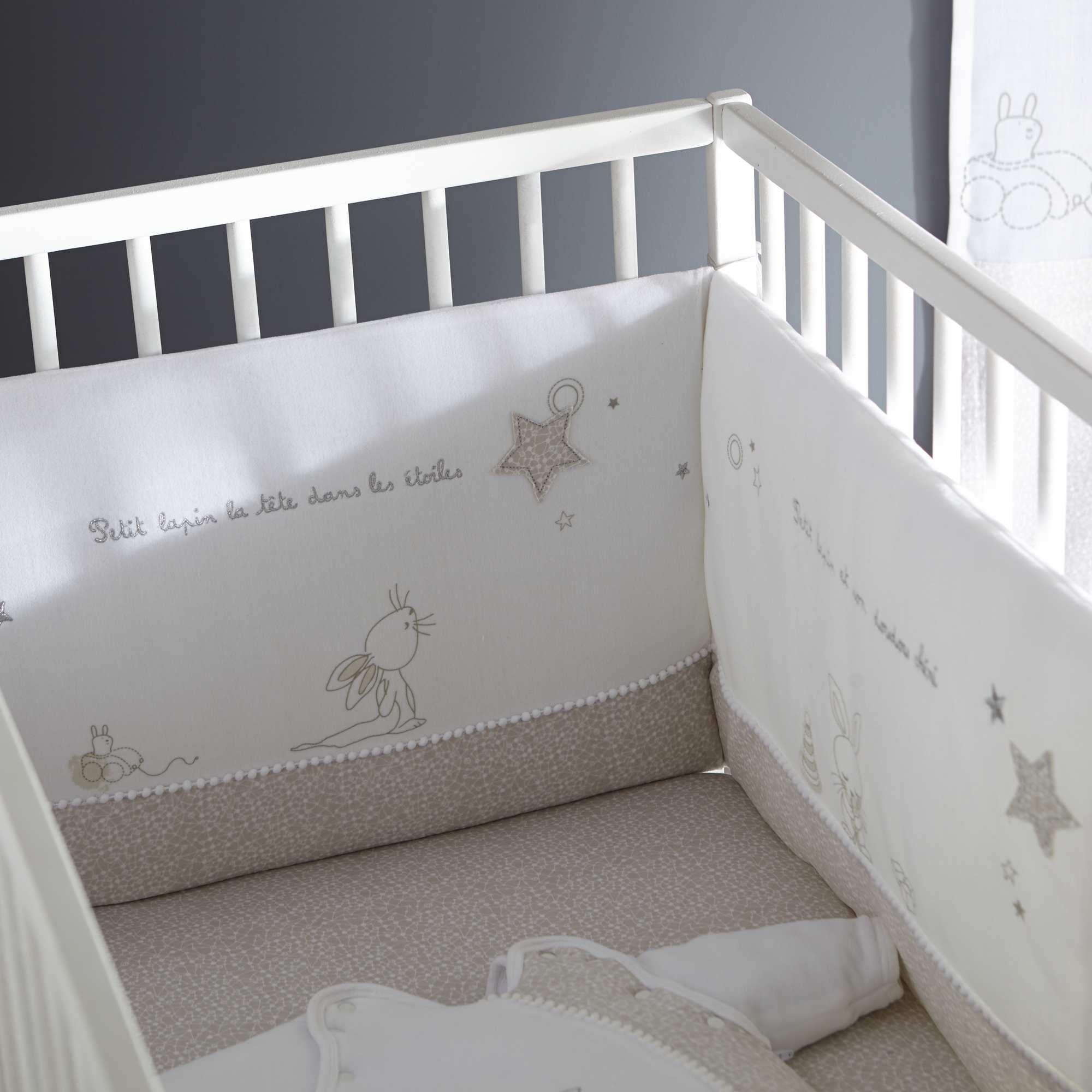 tour de lit velours brod blanc bb fille babies rooms kids rooms baby room - Tour De Lit Kiabi