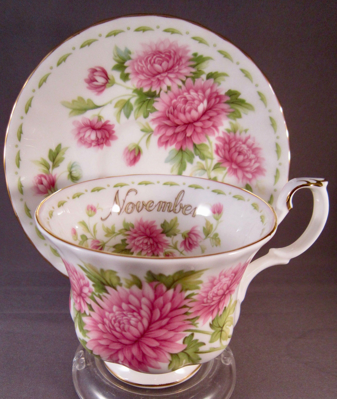 Royal Albert November Bone China Teacup & Saucer Pink