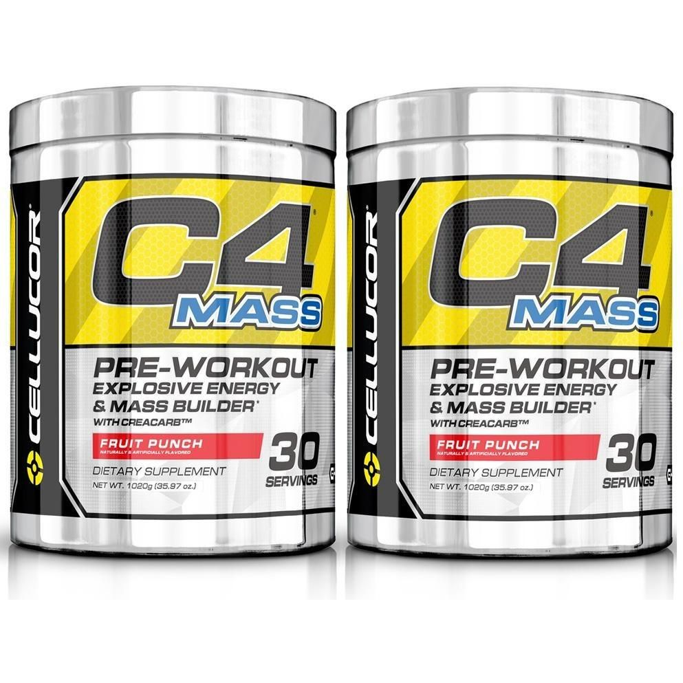 Cellucor C4 Mass Pre Workout Supplement Fruit Punch 30 Servings 2 Pack Preworkout Cellucor Mass Builder