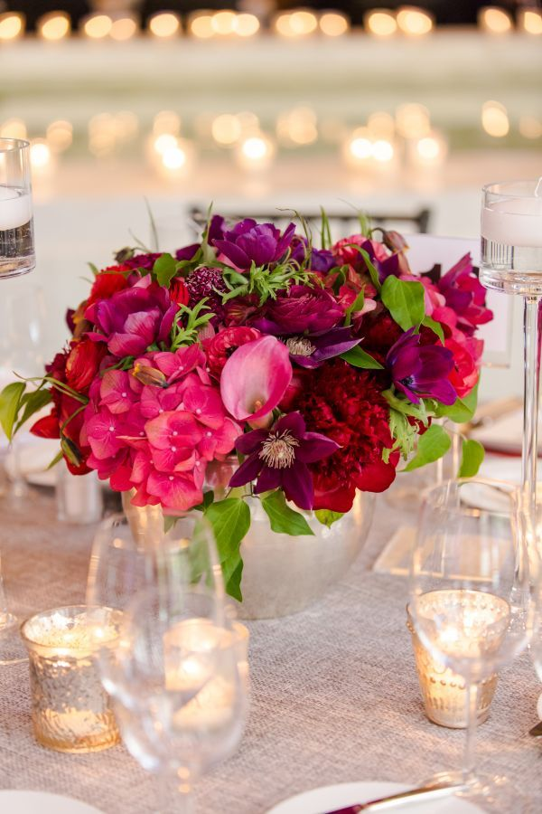 Pink Red And Purple Floral Centerpiece Red Flower Arrangements