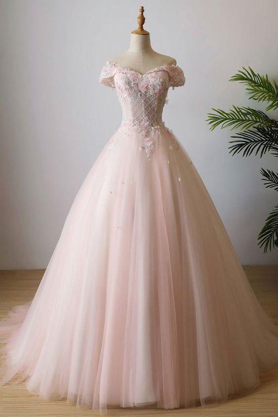 Unique pink off shoulder 3D flower long prom dress tulle beaded evening dress M#…