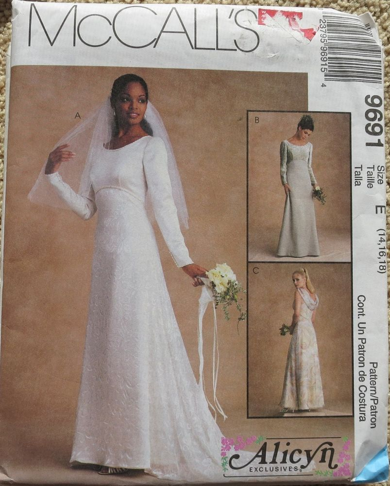 McCall\'s 9691 Misses Evening Bridal Gowns Dress Sewing Pattern 14 16 ...