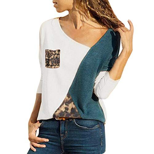 74dd4f34a998 Subfamily Tee Shirt Grande Taille Chemisier Femme Blouse Imprimé léopard Col  V Casual Mode Tunique Haut Top Shirt Manche Longue Haut Patchwork Chemise  ...
