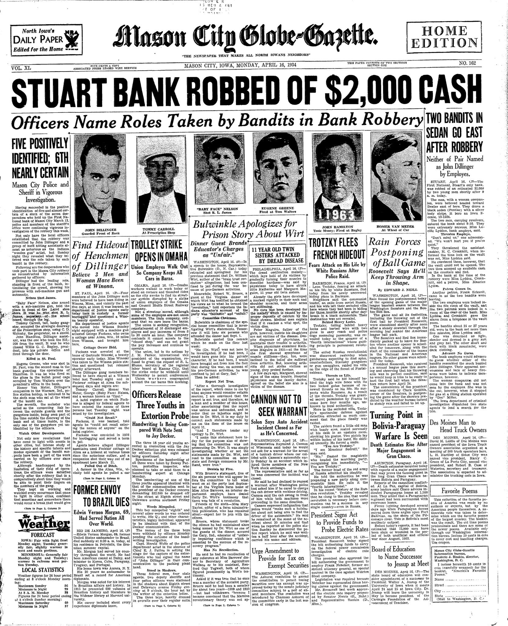 Stuart Bank Robbed Of Two Thousand Dollars Cash Part One Of Article From Mason City Globe