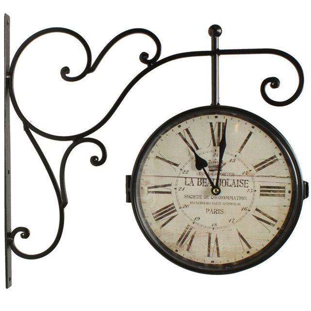 horloge de gare ancienne double face la beaujolaise 24cm horloge de gare gare et horloge. Black Bedroom Furniture Sets. Home Design Ideas